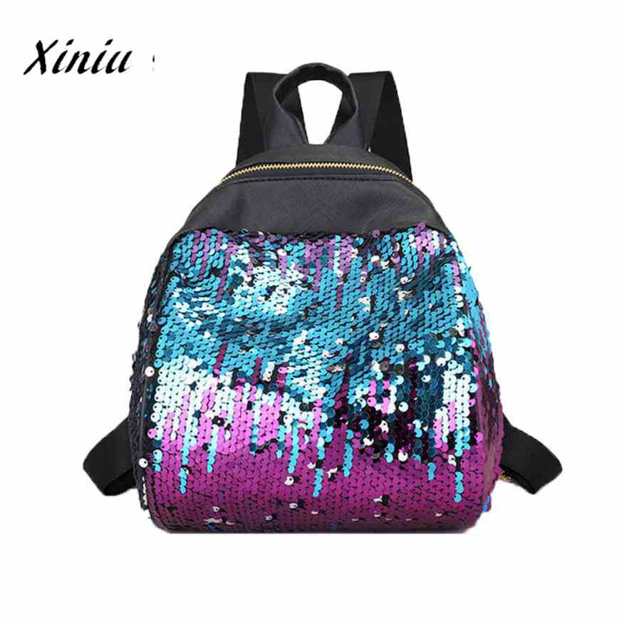 Women Girl Backpack Travel Rucksack Shoulder Shiny Sequins School Bags Waterproof Backpack  #Zer Рюкзак