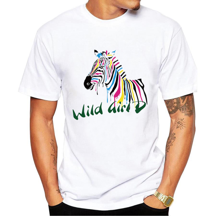 Zebra shirt design - 2017 Summer Fashion Men Wild Color Zebra Design T Shirt Men S High Quality Custom Printed Tops Hipster Tees