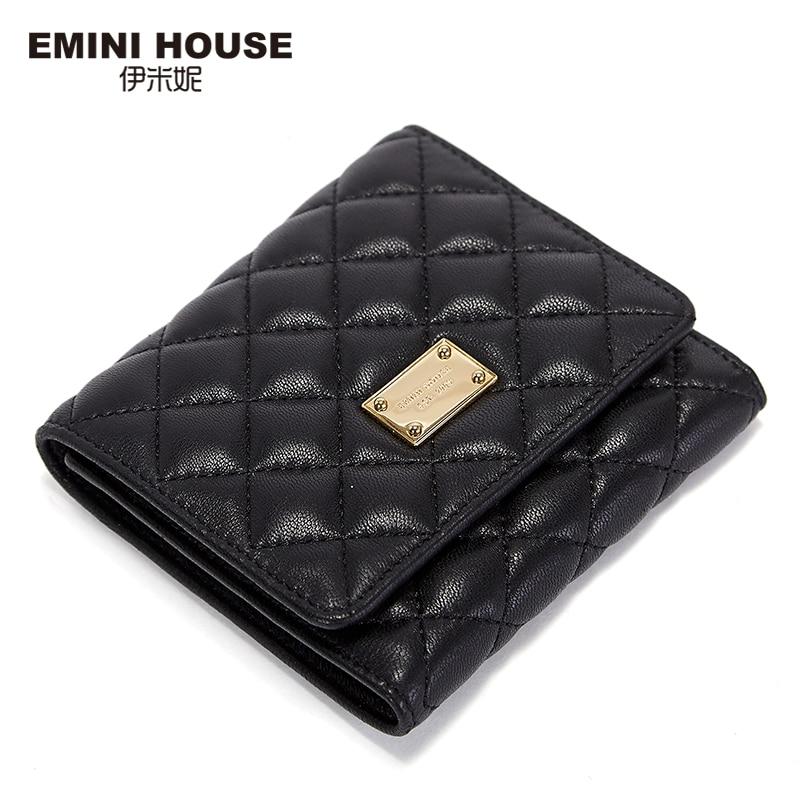 EMINI HOUSE 2 Colors Fashion New Sheepskin Leather Women Wallets Diamond Lattice Multifunction Wallet Travel Wallet Card Holder
