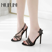Fashion Rivet Rhinestones Womens Sandals Five-pointed Star Stiletto Fine Belt High Heels Suede Sexy Temperament Ladies Shoes