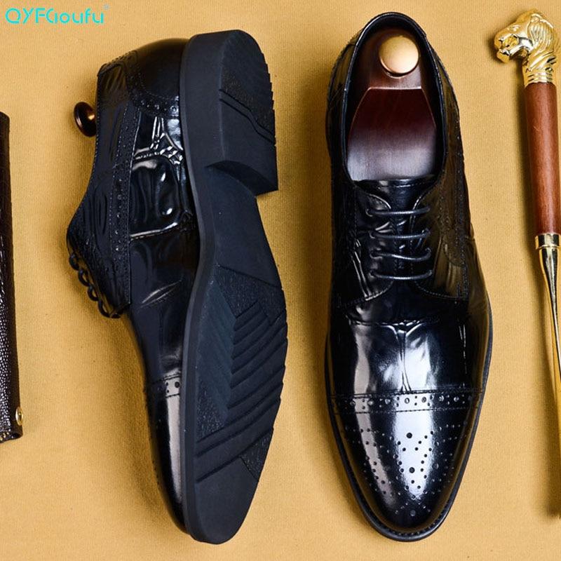 QYFCIOUFU 2019 Hot Handmade Designer Fashion Party Wedding Men Dress Shoes Genuine Leather Mens Oxford Formal EURO Size 46