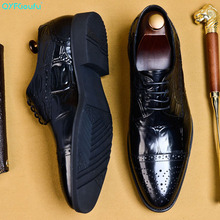 QYFCIOUFU 2019 Hot Handmade Designer Fashion Party Wedding Men Dress Shoes Genuine Leather Mens Oxford Formal Shoes EURO Size 46 christia bella fashion handmade formal mens dress shoes genuine leather spikes studded zebra men s evening wedding party shoes