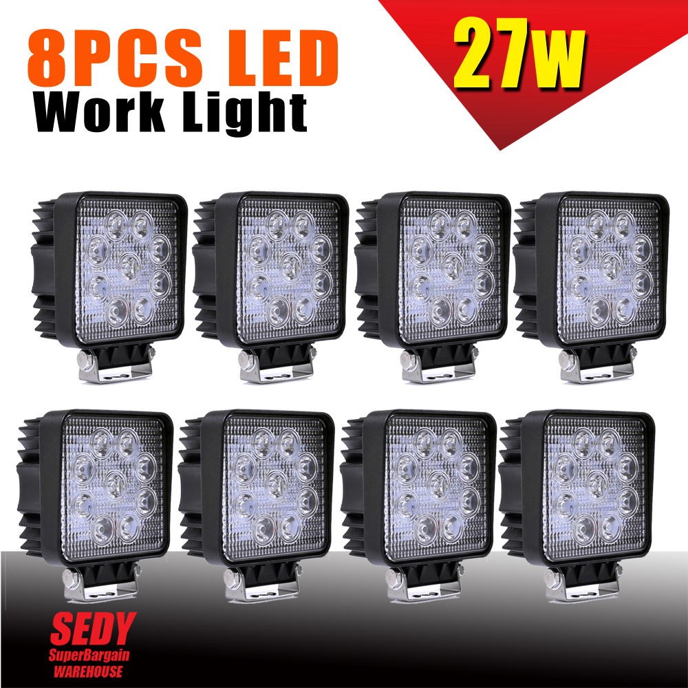 8x 27W LED WORK LIGHT BRIDGELUX LED OFFROAD LAMP UTE BOAT ATV BAR 12V 24V 4WD 1pcs 120w 12 12v 24v led light bar spot flood combo beam led work light offroad led driving lamp for suv atv utv wagon 4wd 4x4