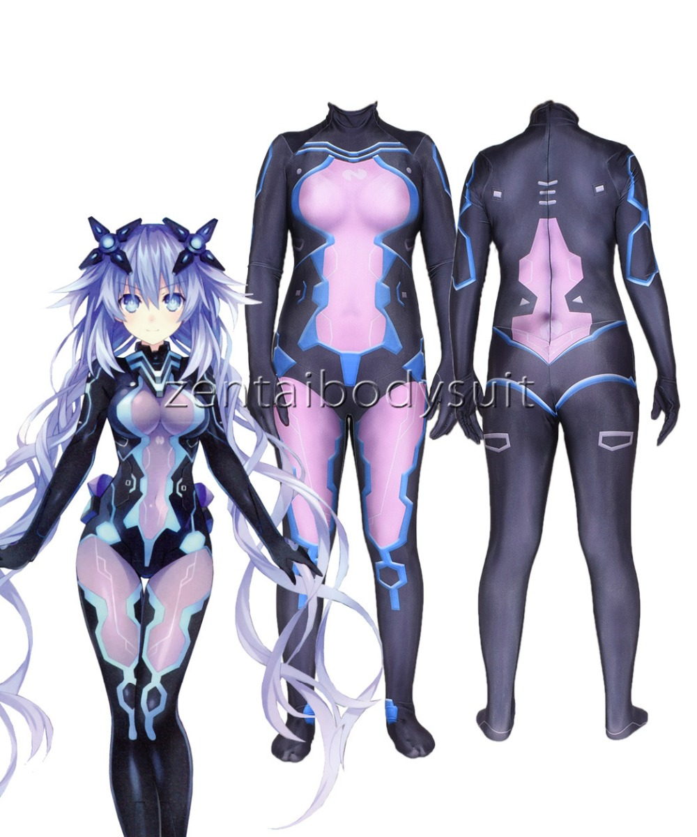Hiperdimension Game Neptunia Superhero Cosplay Costume Halloween Jumpsuits Zentai Suits