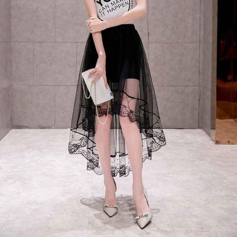 Kobiety dziewczęta lato wysoka talia warstwowe przezroczysta siateczka Swallowtail Midi długa spódnica asymetryczna zapiekanka koronki Hem plisowana strona