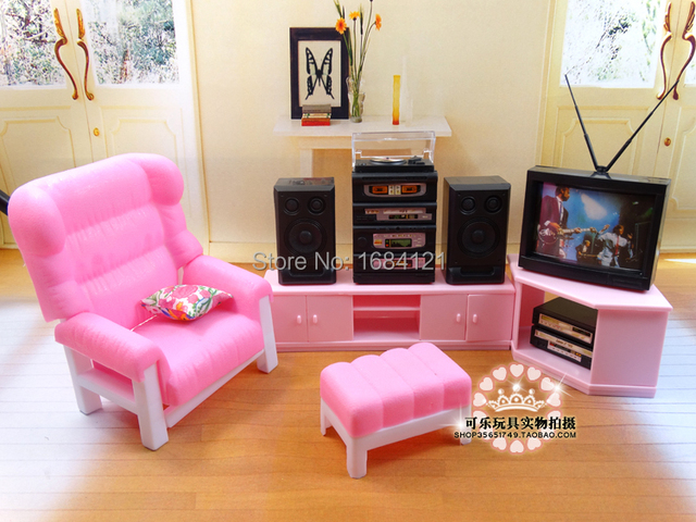 Free shipping New Living Room with Sofa TV Doll Furniture accessories girl Playsets kit DIY toys