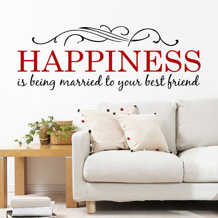 Happiness is being married to your best friend quotes wall stickers image