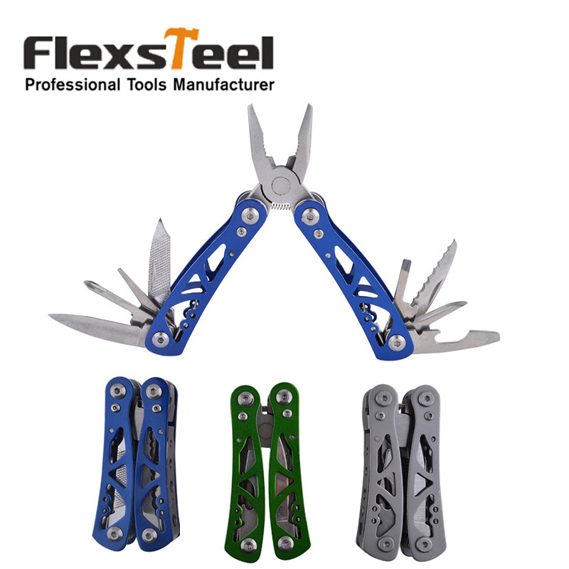 Flexsteel Multi funcional Aço Inoxidável Bolso Multitool Exército Survival Folding Alicate Ferramenta Multi