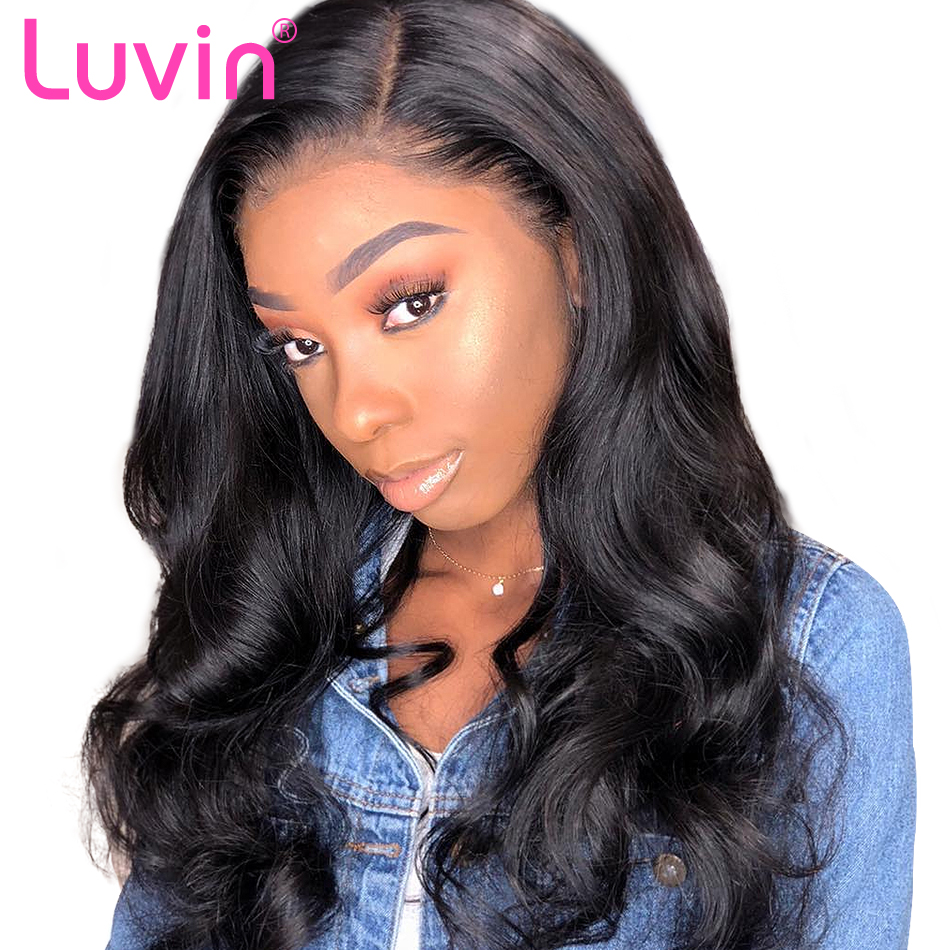 Luvin 250 densidade 10-26 Polegada frente do laço perucas de cabelo humano para preto onda do corpo feminino remy peruca frontal do laço brasileiro curto bob peruca