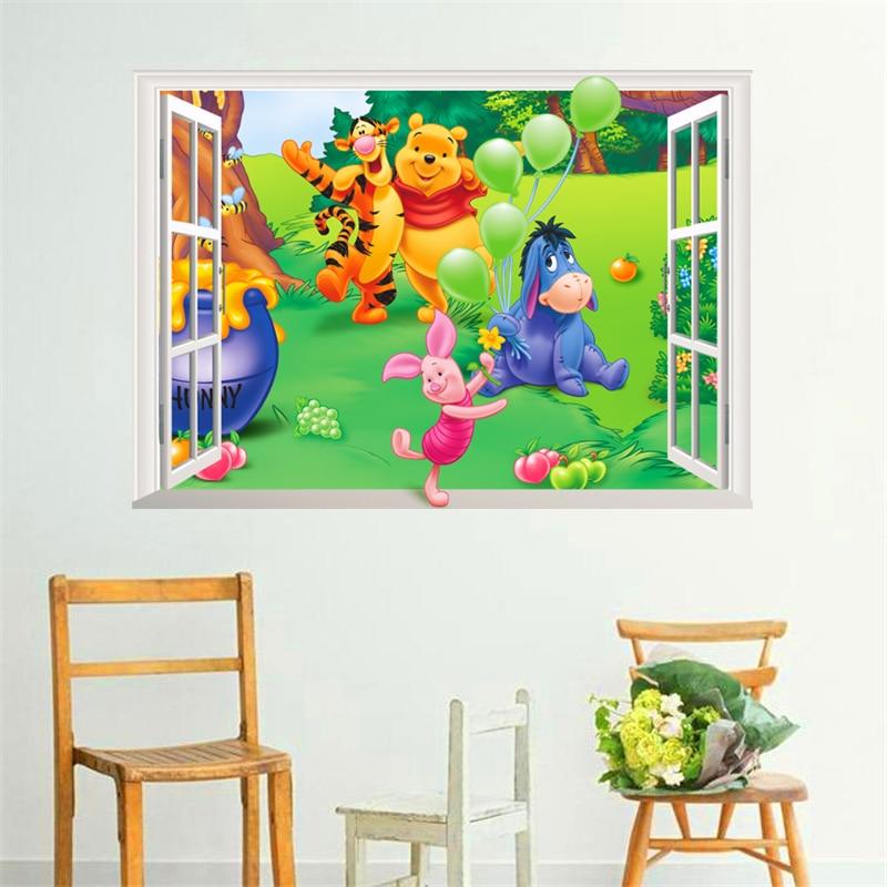 Kartun winnie pooh jendela stiker dinding untuk kamar anak-anak tidur - Dekorasi rumah