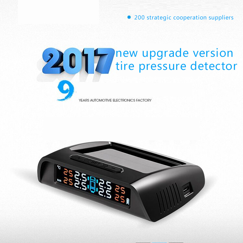 TPMS Car Detector Tire Pressure Tempareture Monitor System External Solar Wireless High Accuracy Intelligent Alarm Free Install tpms tp620 car tire tire pressure alarm car tire diagnostic tool support bar and psi tire pressure monitor car electronics