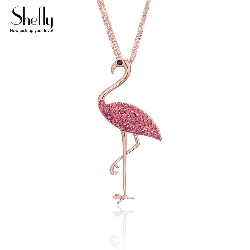 Fashion Cute Animal Flamingo Pendant Necklaces Women CZ Crystal Pink Rose Gold Flamingo Girls Party Wedding Gifts ...