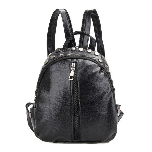 58fc46a75e5f1 2018 yeni moda kadın sırt çantası tiki tarzı perçin okul çantası kız kadın  deri sırt çantaları