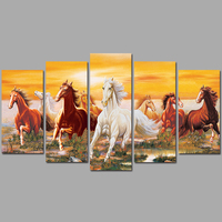 Big Size 5pcs Steed Animal Decoration White Brown Red Horses Wall Art Picture Poster Canvas Painting