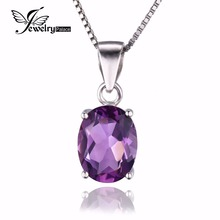 Girls Pure Excessive High quality 1.7ct Amethyst Pendants Oval Reduce Real Strong 925 Sterling Silver Trend Purple Jewellery Wholesale