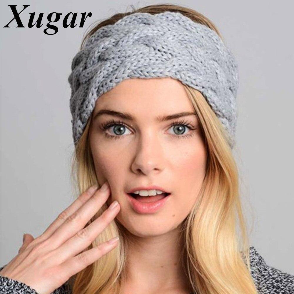 Women Winter Warm Crochet Bow Headbands Handmade Knitted Turban Headwraps for Lady Girls Fashion Hair Accessories