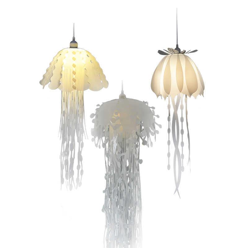 أضواء قلادة الحديثة الأبيض قلادة مصباح مقهى تركيبات ديكور قلادة ضوء للمطبخ غرفة المعيشة البلاستيكية قنديل البحر ضوء
