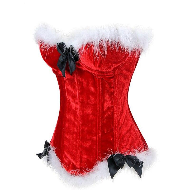 Christmas Corset Costume Women Miss Santa Bustier Top Red Corselet Overbust Corset Halloween Costume Cosplay KorseFor Women (2)