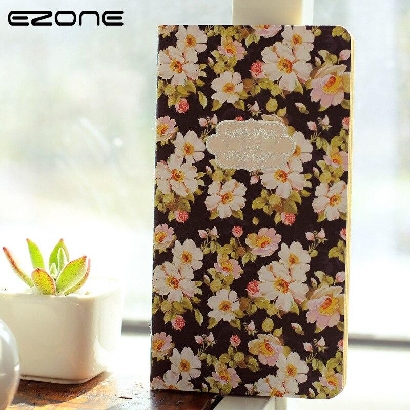 EZONE Vintage Notebook Cute Colored Printed Flowers Note Book Blank Paper Notepad Traveler Jounery Memo School Office Supplies