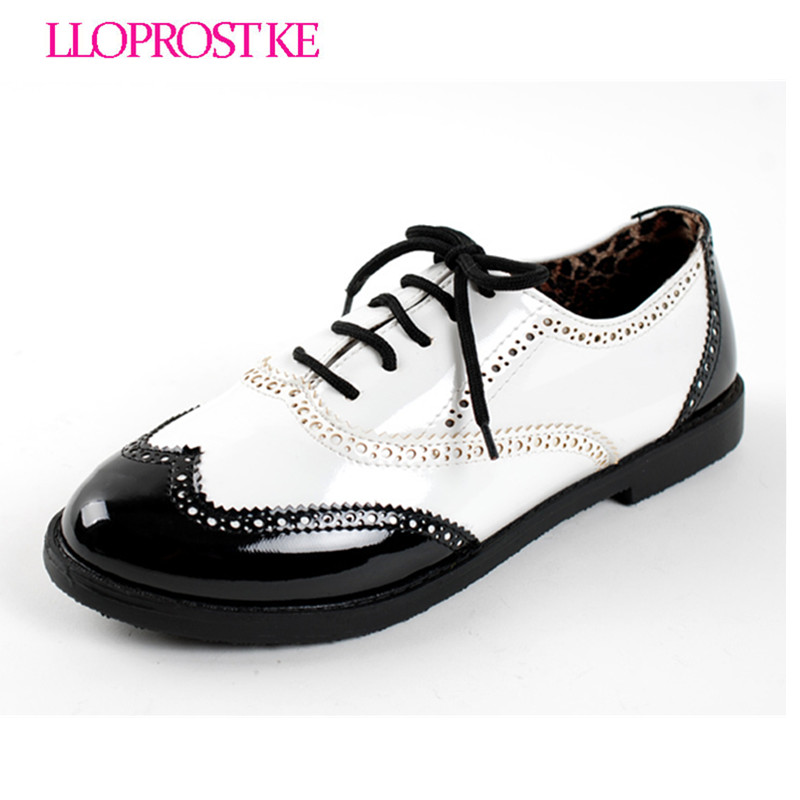 Lloprost ke new fashion vintage british style japanned leather black white patchwork flat shoes casual retro