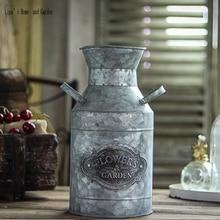 Antiguo vintage flor organizar decorativo hecho a mano de zinc galvanizado leche olla