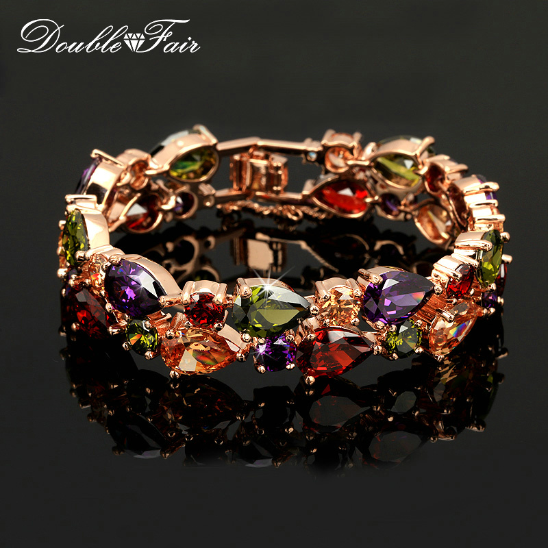 Double Fair DFH003 Luxury Austrian Crystal Rose Gold Color Hand Charm Bracelet s Bangles Fashion Jewelry