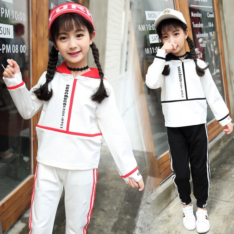 Kids girls spring / fall 2 pcs sets 2017 new baby girls clothing fashion big children hooded sports suit 3/4/5/6/7/8/9/10/11/12