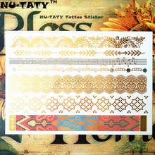 NU-TATY 24 Style Temporary Tattoo Body Art, Large Golden Note Designs, Flash Tattoo Sticker Keep 3-5 Days Waterproof 21x15cm