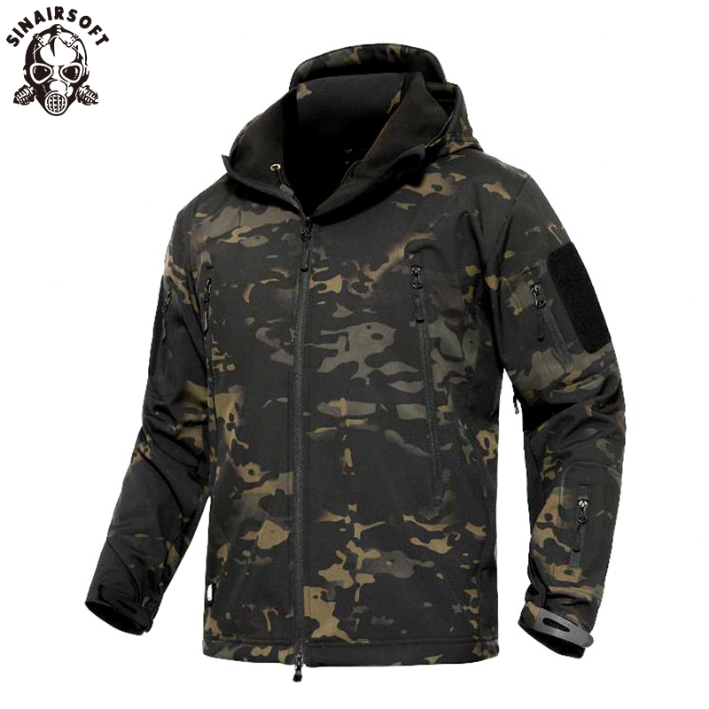 Men Military Tactical Softshell Jackets Outdoor Waterproof Sports Camouflage Hun
