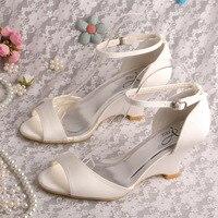 Wedopus New Nhãn Hiệu Tên Ankle Strap Wedge Sandals Trắng Satin Kích Thước 8