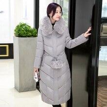 Новая зимняя перо дополняется Девушки длинные пункта колено талии пальто Корейский толстые женщины хлопок воротник куртки Надьмарош Куртка