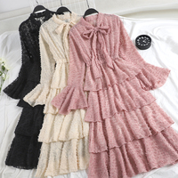 Women Flare Sleeve Lace Up Bandage Pleated Tulle Tassels Cake Dress Casual Slim High Waist Mesh Gauze Voile Ruffles Bow Dresses