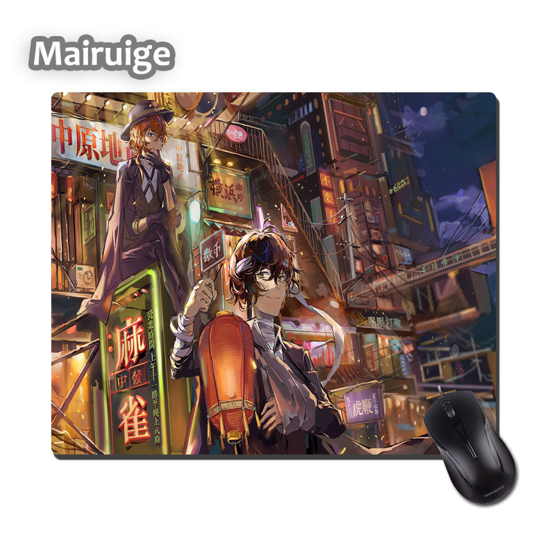Mairuige Mini Size 220x180x2MM Rubber Mousepad Bungo Stray Dogs Anime Cool Mat Nakahara Chuya and Dazai Osamu Pc Desk Mice Pad
