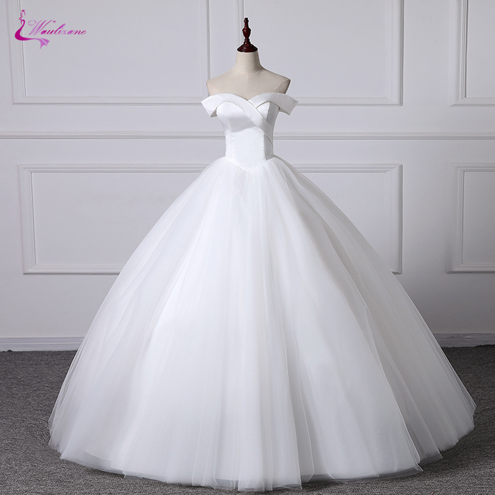 Waulizane Tulle Ball Gown Wedding Dress With Simple Design Off The Shoulder Sleeveless Bride Dress