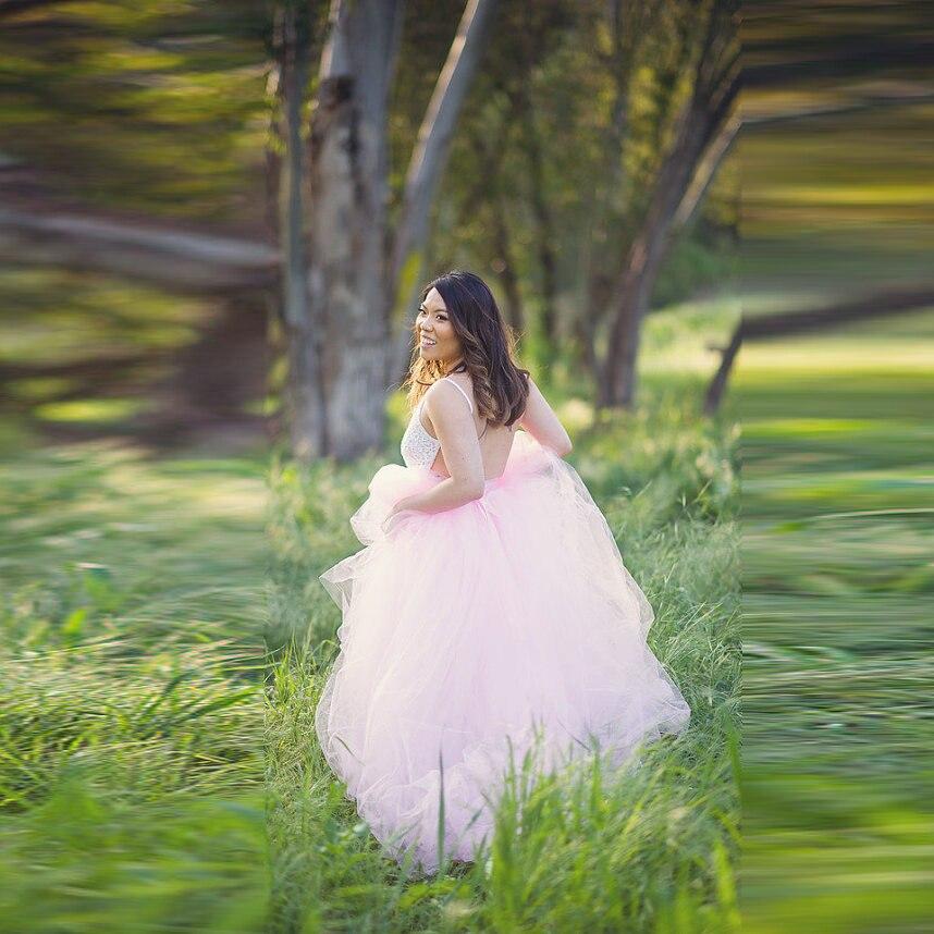 Piso Falda Puffy Por Mujeres Luz Romántico Encargo Wedding Faldas Longitud Rosa Larga Línea Tulle Una Maxi Formal Ip0vUq