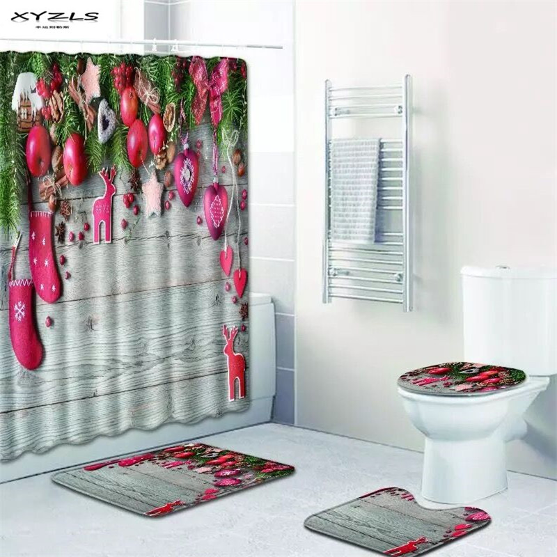 XYZLS Christmas Shower Curtain Set Polyester Waterproof Bath Curtain 180x180cm With Bathroom Mat Set