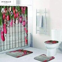 XYZLS Christmas Shower Curtain Set Polyester Waterproof Bath 180x180cm With Bathroom Mat SetChina