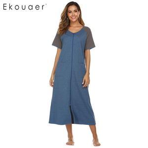 Image 3 - Ekouaer Dài Sleepshirts Váy Ngủ Nữ Cổ Tròn Ngắn Tay Kẻ Sọc Phối Túi Dây Kéo Bắp Chân Dài Rời Váy Ngủ Mùa Hè Váy Ngủ