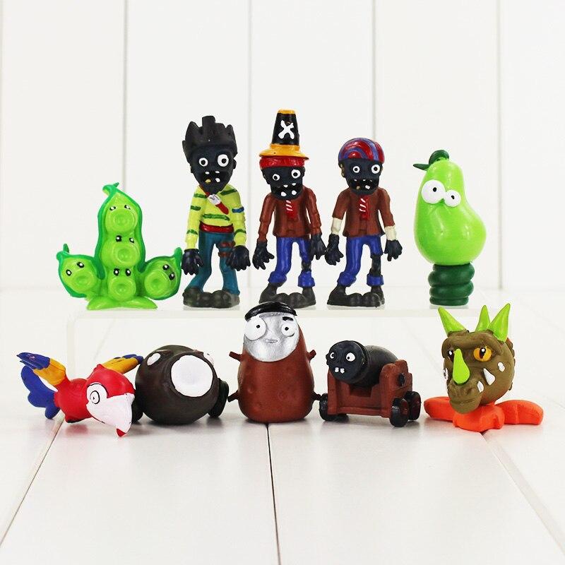 10pcs/lot Plants VS Zombies Figure Toy Gatling Pea Pod Coconut Cannon Spring Bean Snapdragon Bird PVZ Model Dolls