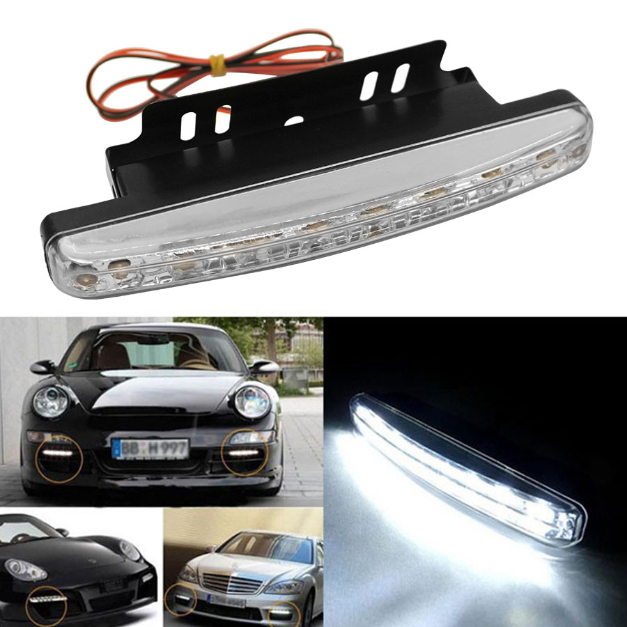 2PCS/Set Car Light 8 LED DRL Car Auto Light Source Fog Driving Daylight Daytime Running Light LED White Head Lamp 1 pair metal shell eagle eye hawkeye 6 led car white drl daytime running light driving fog daylight day safety lamp waterproof