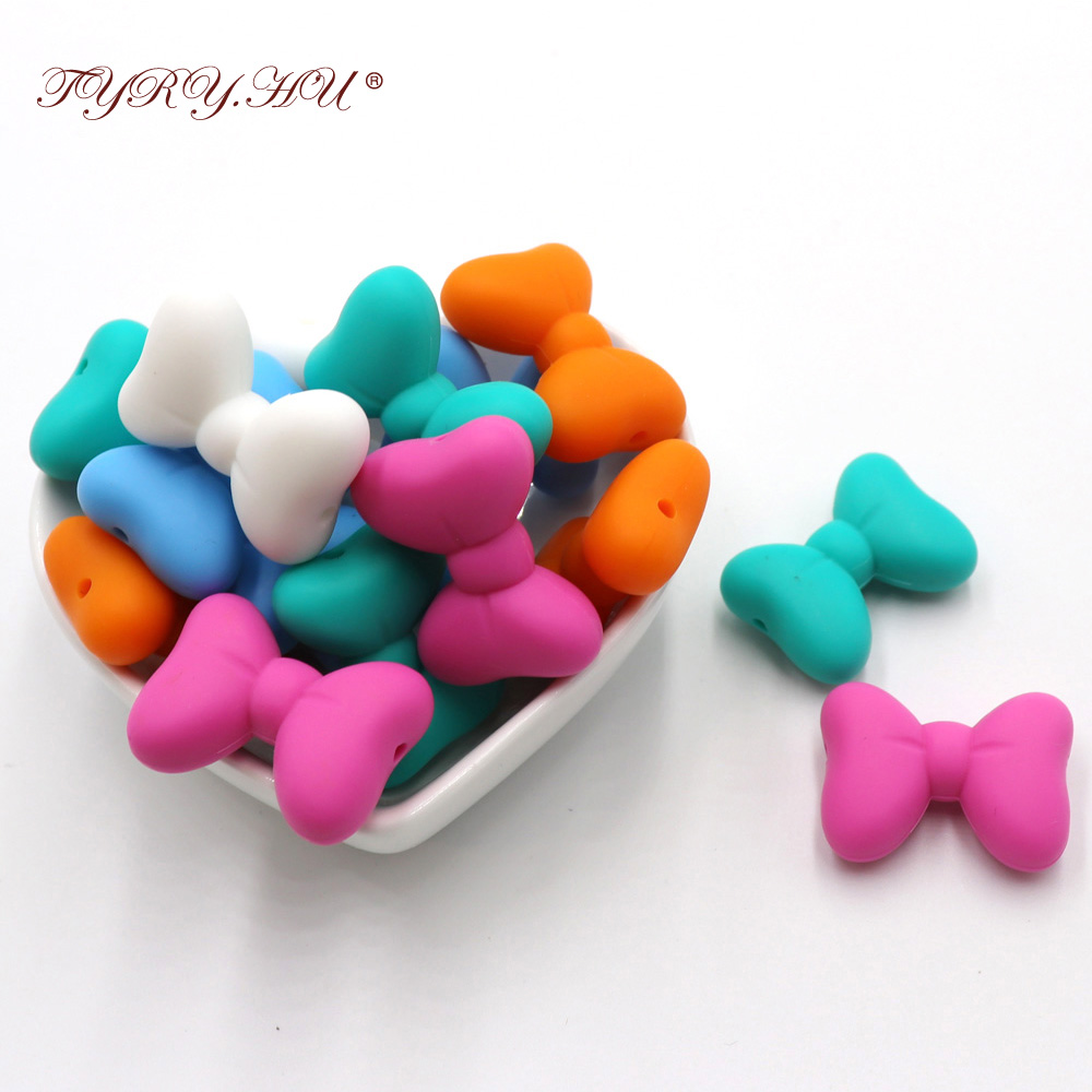 TYRY.HU 5pcs Bow Silicone Teething Toy Little Baby Teether Soothe Chain Teething Necklace Accessories Bpa Free 28*21MM