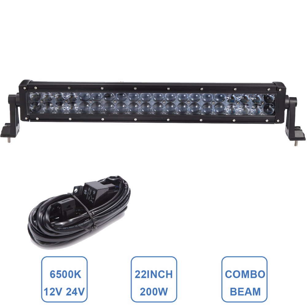 22'' 200W Offroad LED Light Bar 12V 24V Car Auto SUV Truck Trailer Tractor ATV SUV Boat 4WD 4X4 Wagon AWD Driving Headlight Lamp offroad 234w led light bar 37 12v 24v off road atv auto suv ute 4x4 truck trailer tractor boat yacht wagon pickup headlight