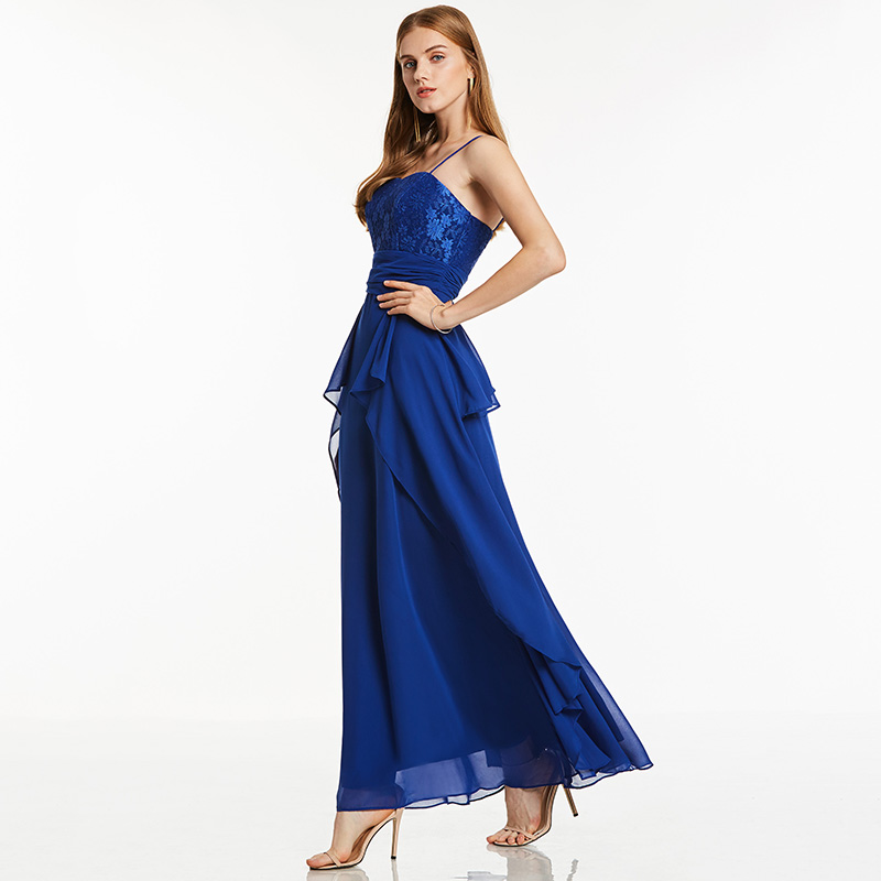 807a106a43 Tanpell spaghetti strap long evening dress dark royal blue sleeveless  draped ankle length dress cheap black party evening dress