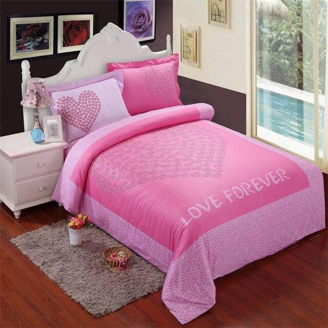 romantique rose housse de couette en poudre 4 pea ensemble draps de lit drap imprim lopard - Housse De Couette Romantique Rose