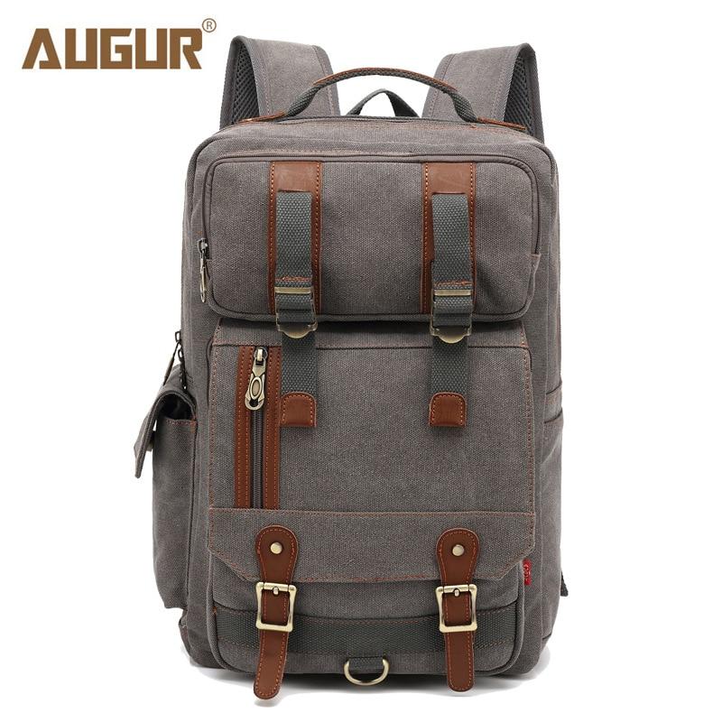 AUGUR 2018 New Canvas Backpacks 17 Inch Large Capacity Laptop Backpack For Women MenS Rucksack School College Black Back Pack