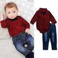 Мальчики красный плед лук с длинными рукавами хлопок комбинезон джинсы дети новый год одежда детская одежда джентльмен джинсовой брюки 16A12