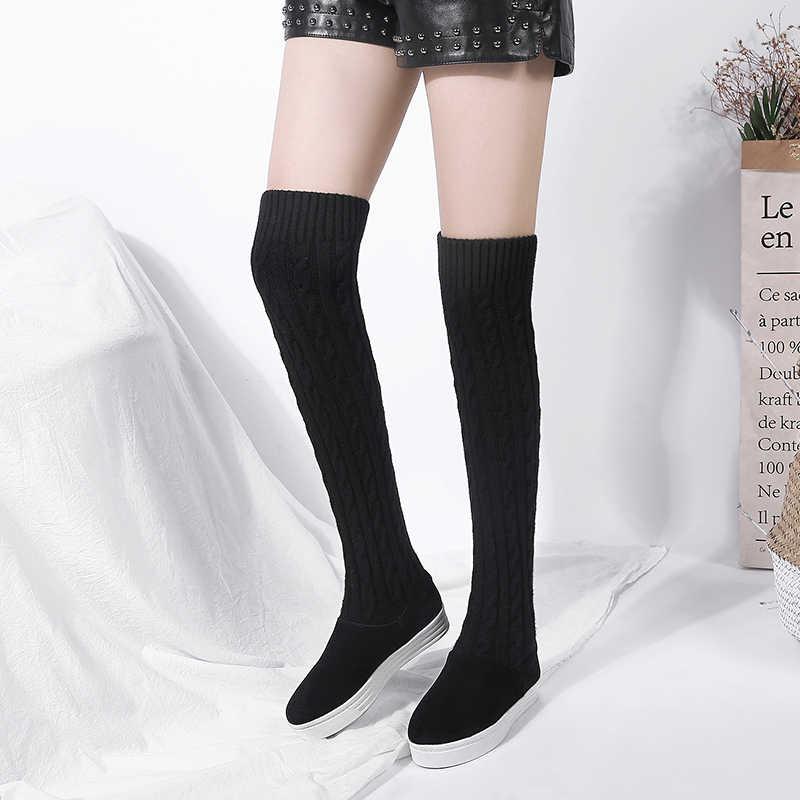 WETKISS Kış Streç Kadın Çizmeler Yuvarlak Ayak Örgü Düz Ayakkabı Diz Kız Çizme Asansör platform ayakkabılar Kadın