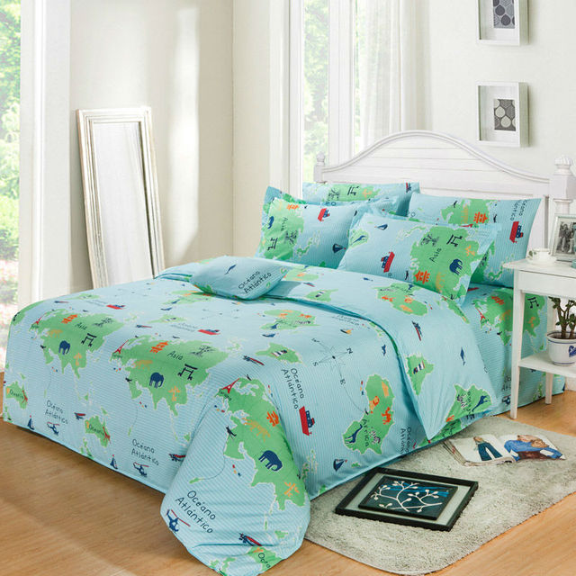 Bedding sets 4pcs duvet cover sets cartoon world map cartoon children bedding set twin full queen king size freeshipping in bedding sets from home bedding sets 4pcs duvet cover sets cartoon world map cartoon children bedding set twin full queen gumiabronc Image collections