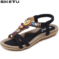 Free Shipping 2017 New National Style Women Sandals Bohemia Flats Beaded Size Foreign Trade Shoes Summer