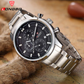 LONGBO Sports watch male luminous calendar stainless steel wristwatches waterproof 6pin luminous large dial quartz watch 80181G